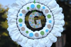 Precious Diaper Wreath made by my talented daughter-in-love!   @Caroline Brewer