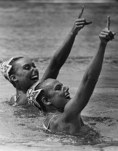 Tracie Ruiz and Candy Costie, gold medalists insynchronizedswimming at the 1984 Los Angeles Olympics