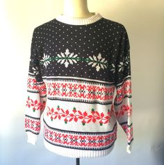 70s Vintage Fair Isle Christmas Ski Sweater by JennyandPearl