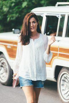 DVF blouse, denim shorts