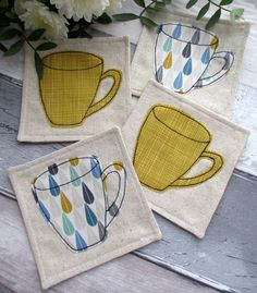 Set of 4 Coasters - Mug Coasters - Fabric Coasters £25.00