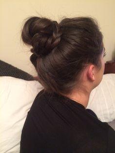To high bun with wrap around plaits