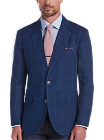 Tailorbyrd Blue Windowpane Slim Fit Sport Coat