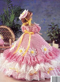 crochet barbie clothes | ... Dress for Barbie or Fashion Dolls for you to Crochet Pattern Leaflet