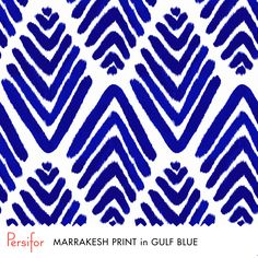 Persifor Marrakesh Print in Gulf Blue. Bold Pantone colors. Unique prints. Hand Painted. Three Screens, three shades of blue, three styles of dresses.