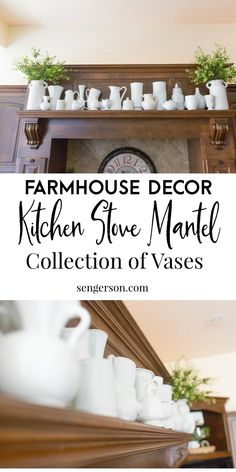 Here are some great ideas on how to decorate above the kitchen hood mantel that you will absolutely love! #kitchenmantel #manteldecor #stovemantel #kitchenmanteldecor