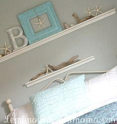 Pale aqua, starfish white, driftwood