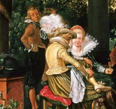Esaias van de Velde (1587-1630,Dutch) Happy society on a garden terrace(detail),oil on canvas, Gemäldegalerie,Berlin.