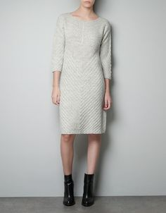 COMBINATION KNIT DRESS - Woman - New this week - ZARA United States - Sweater dress in neutral color can be paired with many things.
