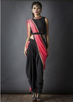 Black and pink edgy dhoti saree sari drape, with beautiful indian jewellery. Indian Attire, Indian Wear, Indian Outfits, Mehendi Outfits, Indian Clothes, Western Outfits, Indian Style, Indian Dresses, Stylish Sarees