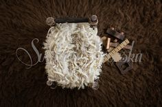Rustic Wooden Bed with Tiny Tools for Boys - Digital Background for Boys High Res jpg file