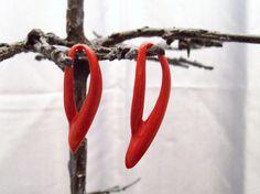 Vintage Earrings - Red Ribbon Earrings - Pierced - 1980s, $13.00
