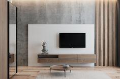 Olabilir Apartment Interior, Interior Design Living Room, Living Room Designs, Contemporary Interior Design, Living Room Tv Unit, Home Living Room, Home Room Design, House Design, Tv Wall Design