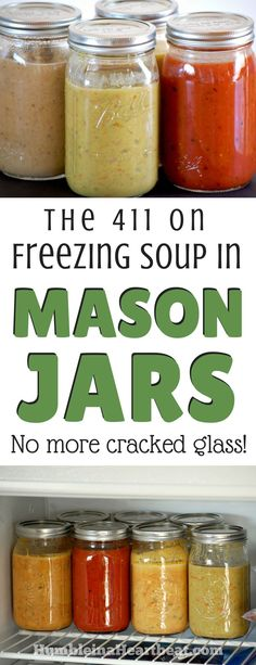 Ever tried freezing soup in a glass jar and wound up with cracked jars? Mason Jars, Mason Jar Meals, Meals In A Jar, Freezer Cooking, Freezer Meals, Cooking Tips, Canning Recipes, Soup Recipes, Drink Recipes