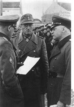 """Generaloberst Ferdinand Schörner (center) a die-hard Nazi, was the last field marshal named by Hitler before his suicide and, briefly, the last chief of the German army. After the war, he was imprisoned in the USSR to serve a 25-year sentence, but he was released in 1955. Known as """"bloody Ferdinand"""" and """"Hitler's most brutal field marshal,"""" Schorner was briefly jailed in Germany too and died in 1973."""