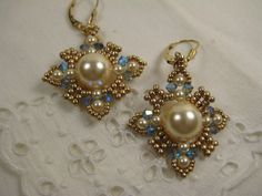 Swarovski Glass Pearl Drop Earrings Beaded Crystals Light Gold Seed Beads 14kt…