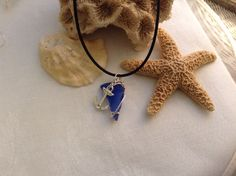 Cobalt blue sea glass necklace with anchor charm by WaterSpirits Jewelry