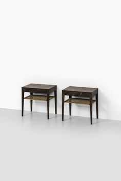 Rare pair of bedside tables in rosewood and cane designed by Severin Hansen and produced by Haslev møbelsnedkeri in Denmark