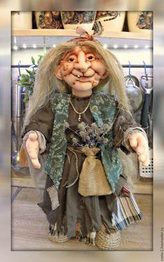 Купить баба яга - коричневый, интерьерная кукла, баба яга, подарок на любой случай