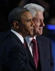 4 President Barack Obama stands with former President Bill Clinton after Clinton's address to the Democratic National Convention in Charlotte, N.C. President Obama caps the convention on Thursday, Sept. 6, 2012 (Carolyn Kaster/AP)    Sept. 19, 2012