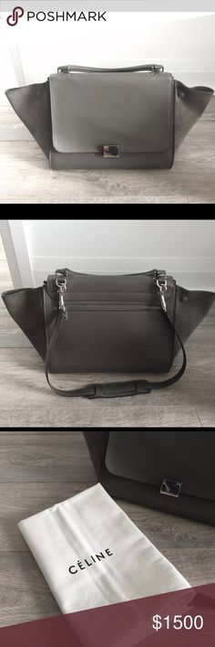 Auth Céline Trapeze Medium Gray Calfskin w/Dustbag Authentic medium Celine Trapeze with shoulder strap. Comes with original Celine dustbag. Grained leather exterior, suede leather wings, and smooth leather interior. Photos were taken in natural light.   I owned the bag for about 4 years. It's been sitting in my closet collecting dust for a while now. Looking for someone who use it more often.  Scratch/shedding on interior leather. Light peeling on back exterior edge (see all photos)…