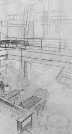 Clara Lieu, Student Artwork, RISD Illustration department, Drawing I: Visualizing Space course, studies on 3 point perspective from direct observation, graphite, 2016