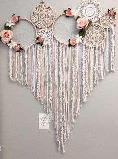 This Floral dream catcher collage/mural is just one of the custom, handmade pieces you'll find in our home & living shops. Doily Dream Catchers, Dream Catcher Craft, Embroidery Hoop Crafts, Ribbon Embroidery, Wedding Embroidery, Embroidery Ideas, Palette Deco, Hoop Dreams, Diy Arts And Crafts