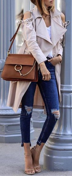 #spring #fashion  Beige Cold Shoulder Coat + Navy Ripped Skinny Jeans + Nude Sandals