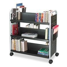 "Safco Scoot Double Sided Book Cart - 6 Shelf - 4 x 3"" Caster - Steel - 41"" x 17.75"" x 41"" - Black, Silver"