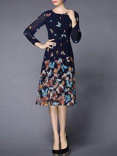 A-line Animal Print Long Sleeve Vintage Midi Dress