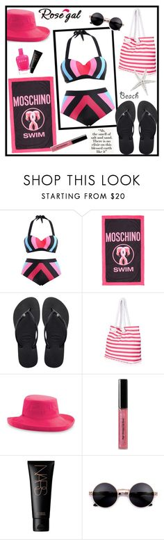 """Plus Size Bikii"" by tlb0318 on Polyvore featuring Moschino, Havaianas, Topshop, Dorfman Pacific, Bobbi Brown Cosmetics and NARS Cosmetics"