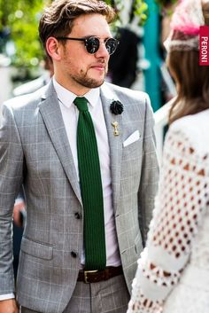 http://chicerman.com  billy-george:  Grey suit  green tie is always a great combination  Photo via Dmarge  #streetstyleformen