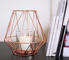Copper Wire Metal Geometric Contemporary Modern Tea Light Votive Candle Holder