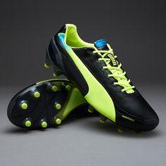 318b9f0f548 Puma Football Boots - Puma evoSPEED 1-2 K FG - Firm Ground - Soccer Cleats  - Black-Flourescent Yellow-Brilliant Blue