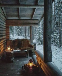 Architecture and Beauty Winter Porch Something about Home Decor Article Body: The creative aspect in Winter Porch, Winter Cabin, Cozy Cabin, Cozy Winter, Snow Cabin, Winter House, Winter Snow, Cabin Homes, Log Homes