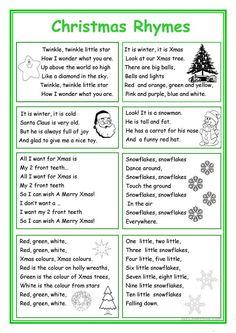 1acb8f289 Christmas Rhymes Angličtina, Anglická Gramatika, Stredoškolská Angličtina,  Studios, Učenie