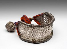 https://www.facebook.com/nikhaarfashions India | Bracelet; silver and cord | 19th century