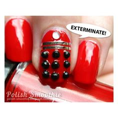 Polish Smoothie Doctor Who nail art Red Daleks found on Polyvore