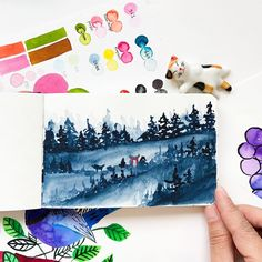 Giving a twist to the pine tree landscape - a Torii (an orange traditional Japanese gate) Sketchbook . Watercolor Landscape, Landscape Paintings, Watercolor Paintings, Landscapes, Japanese Gate, Watercolor Beginner, Color Club, Traditional Japanese, Pine Tree