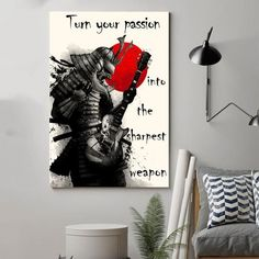 Samurai Poster - turn your pasion Poster No Frame Gift Printed in US Canvas Frame, Canvas Wall Art, Wall Art Prints, Poster Prints, Family Poster, Samurai Warrior, Panel Wall Art, Ink Painting, Canvas Material
