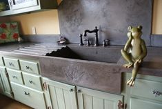 how to make your own concrete countertop with a farm sink - Google Search - one piece