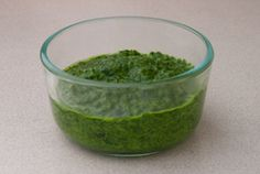 This winter pesto recipe uses spinach and has no nuts or Parmesan cheese.