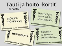 Tauti- ja hoitokortit + sanasto | Mielialan nostatus ryhmille | Helppo | Tulostettava PDF | Ikäihminen, vanhus, seniori, ryhmätoiminta, virike Projects To Try, Language, Place Card Holders, Classroom, Lol, Teacher, School, Crafts, Harry Potter