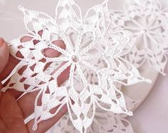 Crochet snowflakes Hanging winter decorations Crochet ornament White crocheted…