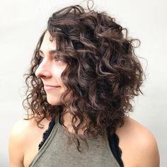 Curly Angled Brunette Bob