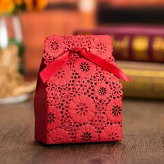 Red Flower Laser Cut Wedding Favor Boxes Wedding Candy Box Casamento Wedding Favors And Gifts