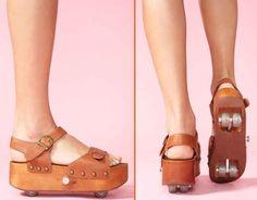 Platform Sandals with Retractable Wheels