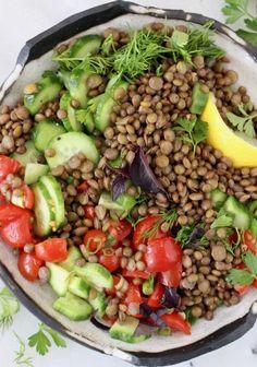 Vegan Cucumber Tomato Lentil Salad with Lemon, Basil and Dill