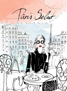 coffee time in Paris #french coffee #fashion illustration #paris #french lady #coffee time #illustration