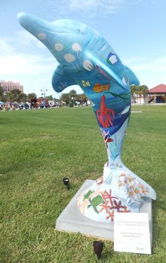 Sponsor:  Hyatt Clearwater Beach Resort  Artists:  H. Kukoleck & Students, Morean Art Center  One of 50 themed dolphins on display at Pier 60 Park in #Clearwater until 9/4/12.  #ClearwatersDolphins